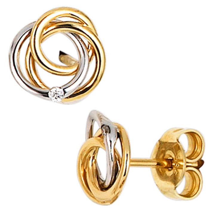 Ohrstecker Knoten verschlungen 585 Gold bicolor 2 Diamanten Brillanten Ohrringe