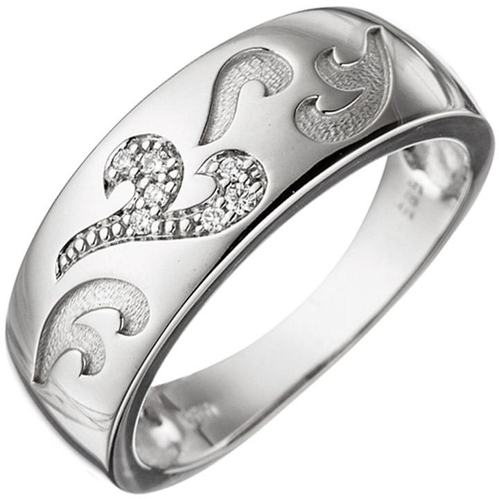 Damen Ring 585 Gold Weißgold 7 Diamanten Brillanten 0,04ct. Weißgoldring