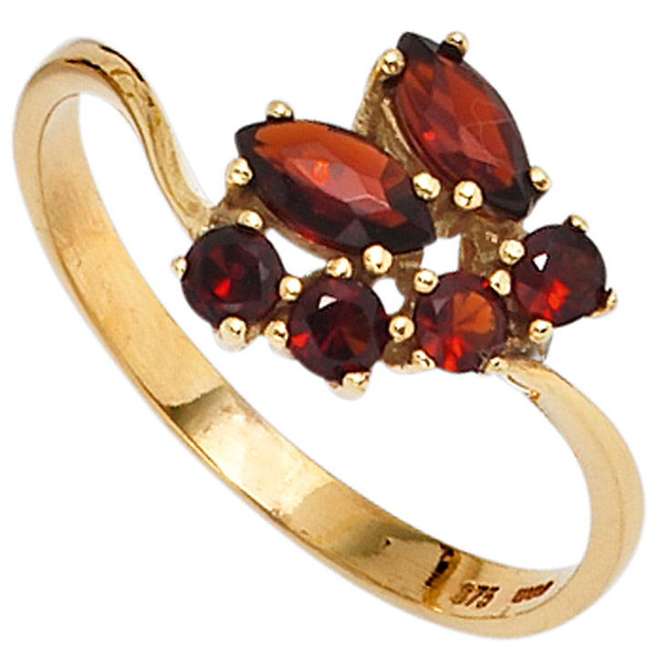 Damen Ring 375 Gold Gelbgold 6 Granate rot Goldring
