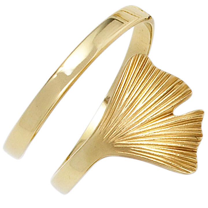 Damen Ring Ginko Ginkgo offen breit 375 Gold Gelbgold mattiert Goldring
