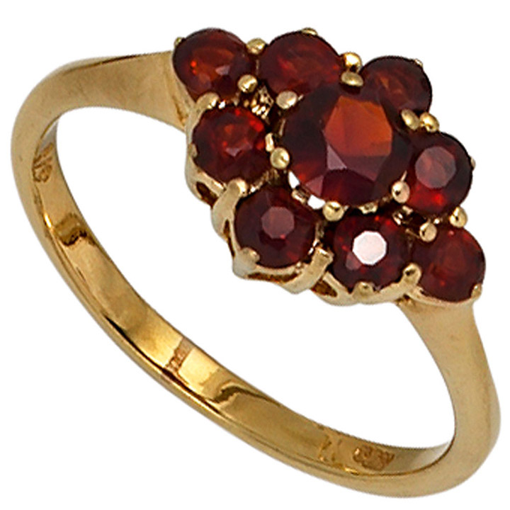 Damen Ring 375 Gold Gelbgold 9 Granate rot Goldring