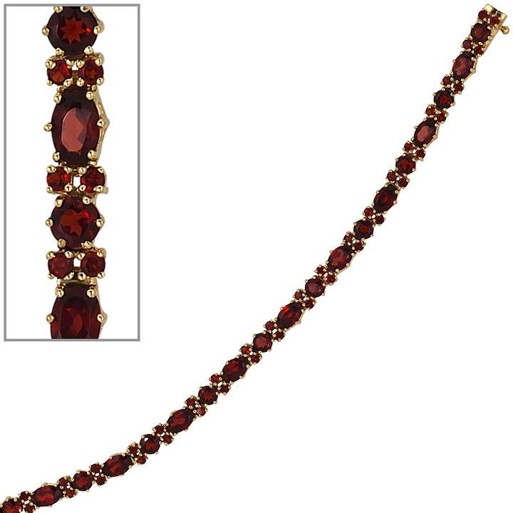Armband 333 Gold Gelbgold und 72 Granate rot 19 cm Goldarmband