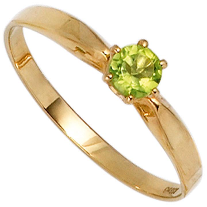 Damen Ring 585 Gold Gelbgold 1 Peridot grün Goldring