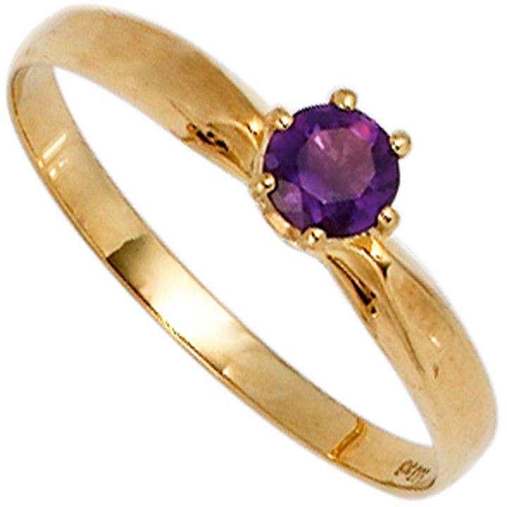 Damen Ring 585 Gold Gelbgold 1 Amethyst lila violett Goldring