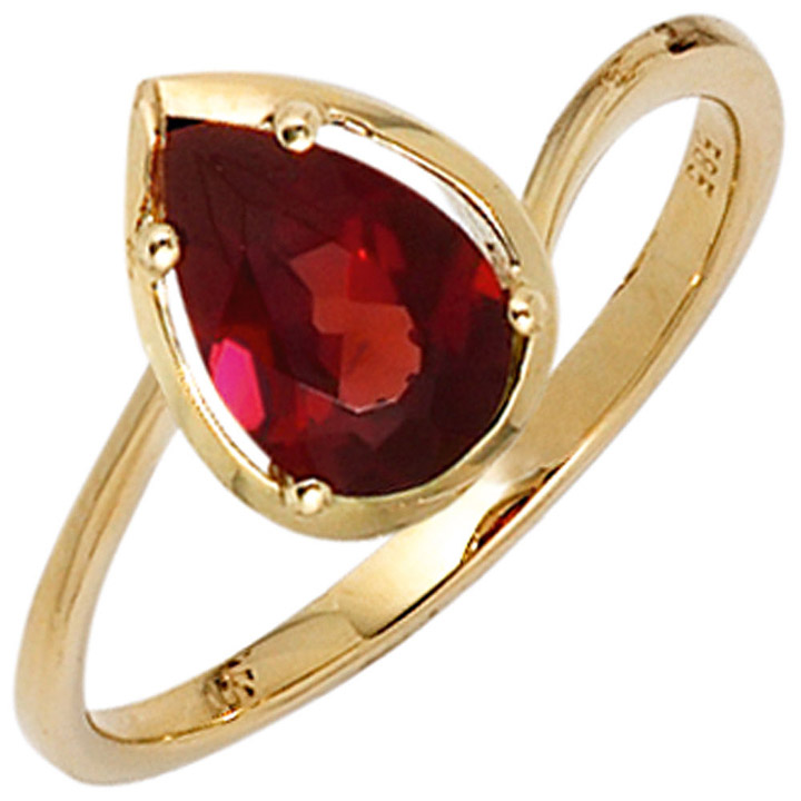 Damen Ring 585 Gold Gelbgold 1 Granat rot Goldring