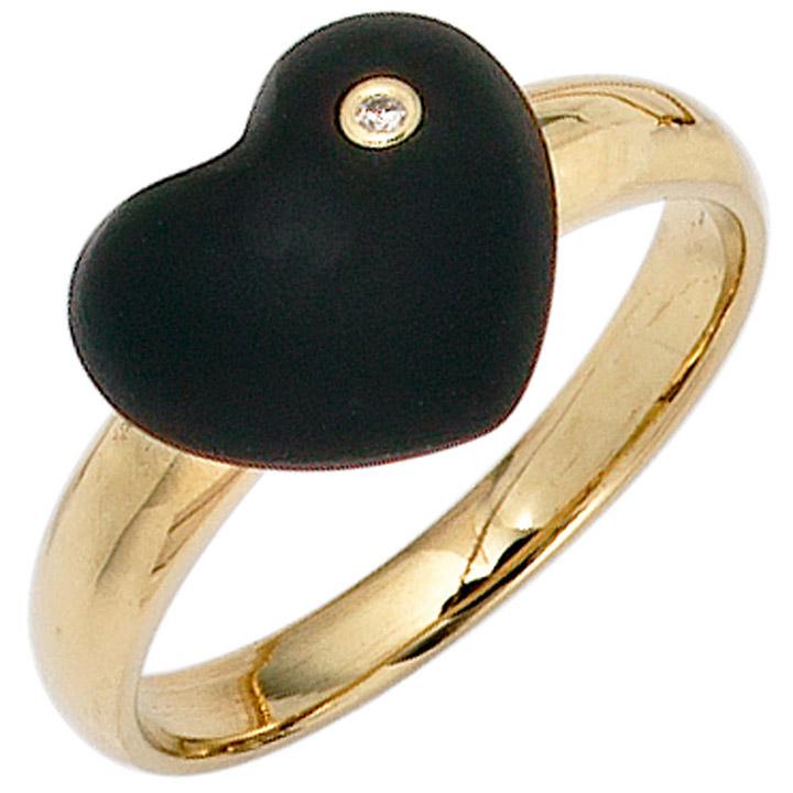 Damen Herz Ring 585 Gold Gelbgold 1 Onyx schwarz 1 Diamant Brillant Goldring