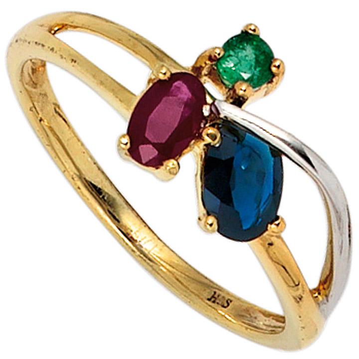 Damen Ring 585 Gold Gelbgold bicolor 1 Rubin 1 Safir 1 Smaragd Goldring