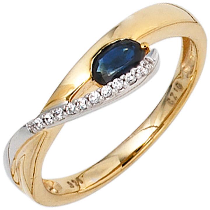 Damen Ring 333 Gold Gelbgold Weißgold 1 Safir blau 10 Zirkonia Goldring