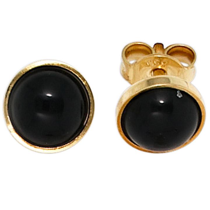 Ohrstecker rund 333 Gold Gelbgold 2 Onyxe schwarz Ohrringe Goldohrstecker