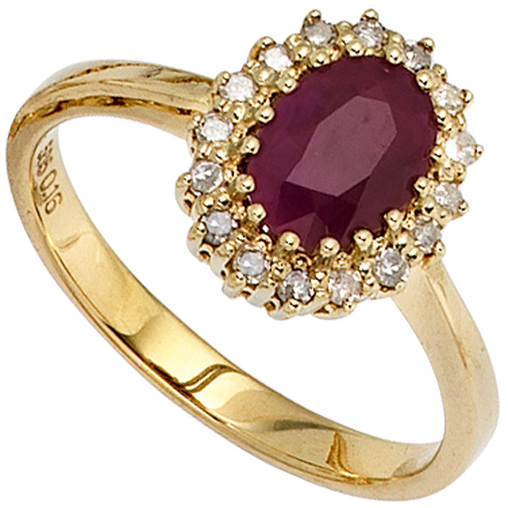 Damen Ring 585 Gold Gelbgold 1 Rubin rot 16 Diamanten 0,16ct. Goldring