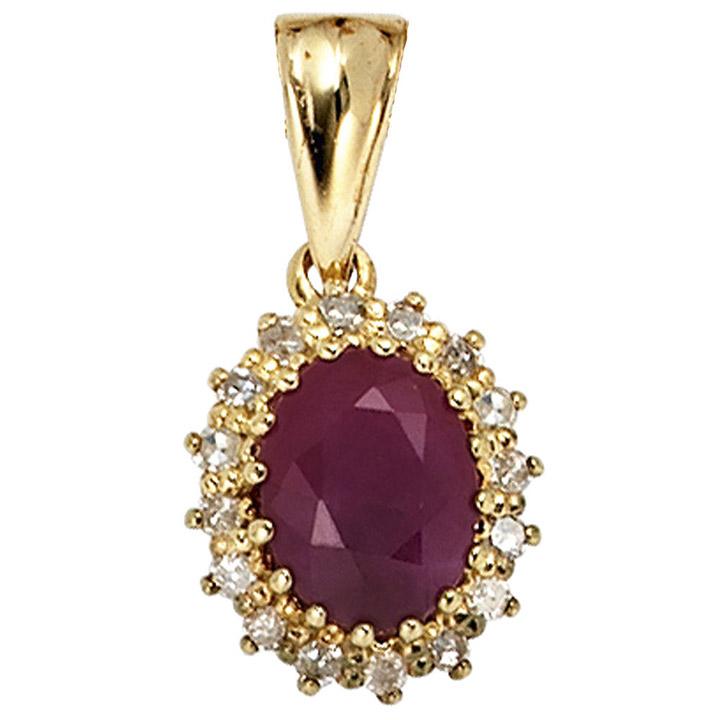 Anhänger 585 Gold Gelbgold 16 Diamanten 0,16ct. 1 Rubin rot Goldanhänger