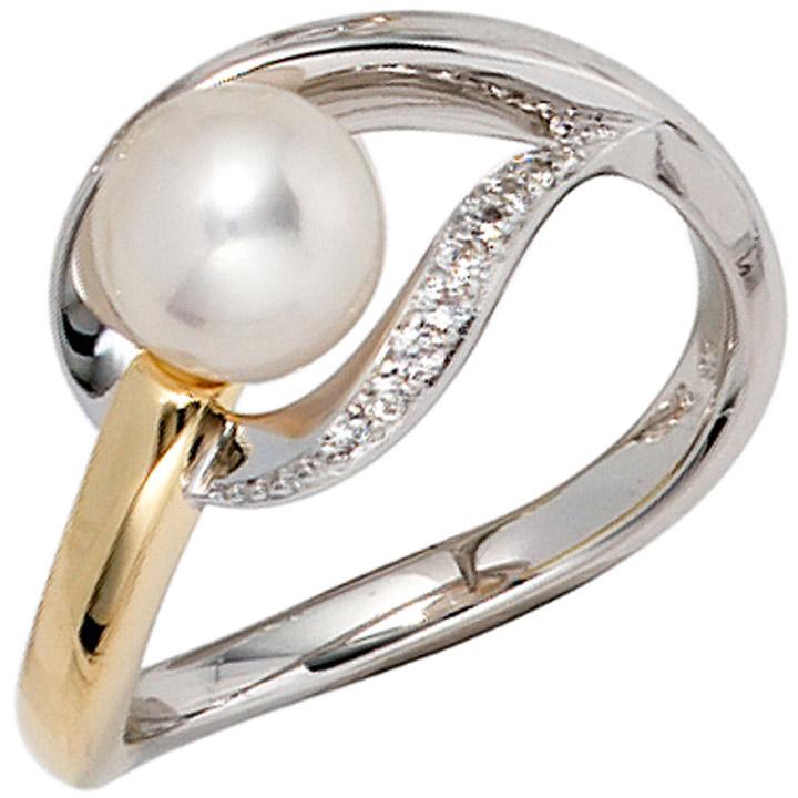 Damen Ring 585 Gold Weißgold Gelbgold bicolor 1 Süßwasser Perle 9 Diamanten