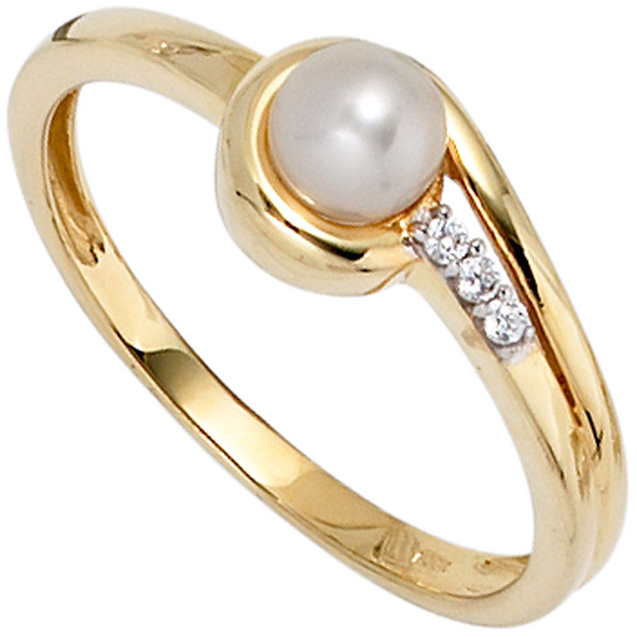 Damen Ring 333 Gold Gelbgold 1 Süßwasser Perle 3 Zirkonia Goldring Perlenring
