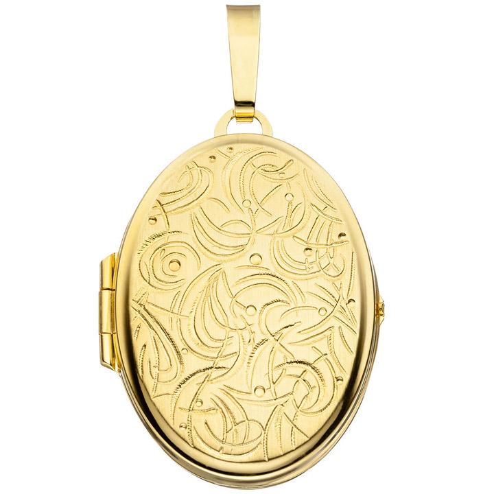 ovales Gold Medaillon Anhänger für 2 Bilder aus 333 Gold