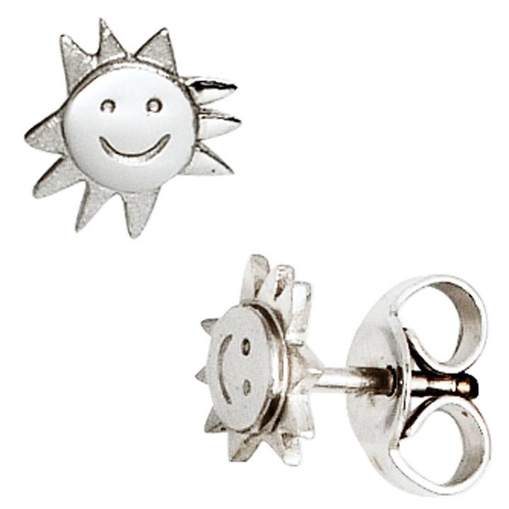 Kinder Ohrstecker Sonne 925 Sterling Silber mattiert Ohrringe Kinderohrringe