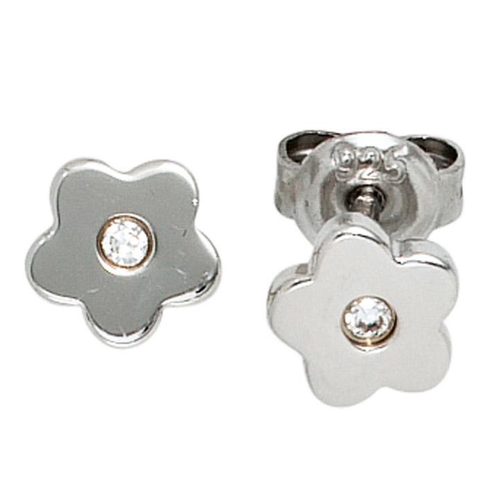 Kinder Ohrstecker Blume Blumen 925 Silber 2 Zirkonia Ohrringe Kinderohrringe