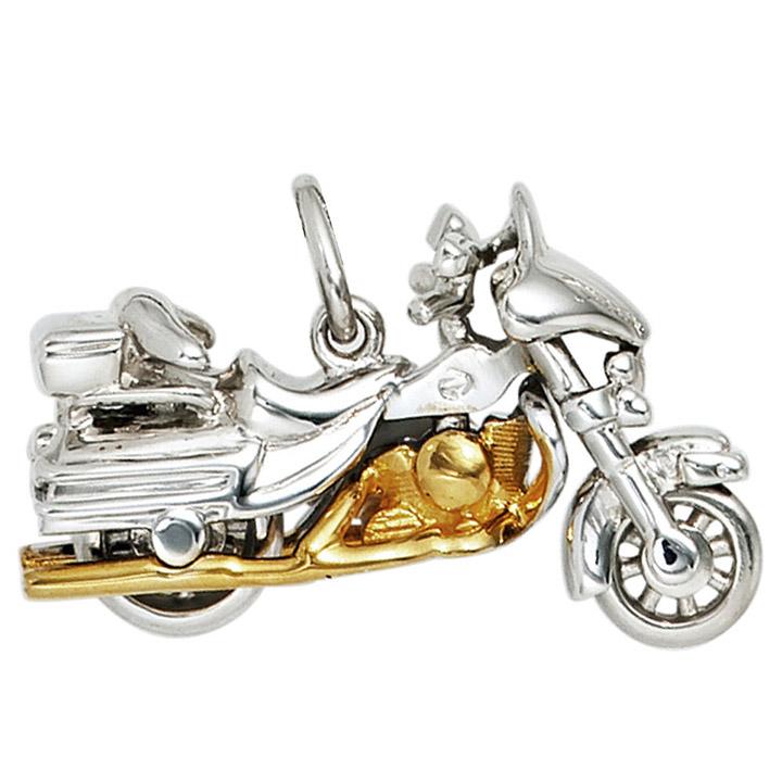 Anhänger Motorrad 925 Sterling Silber rhodiniert bicolor vergoldet