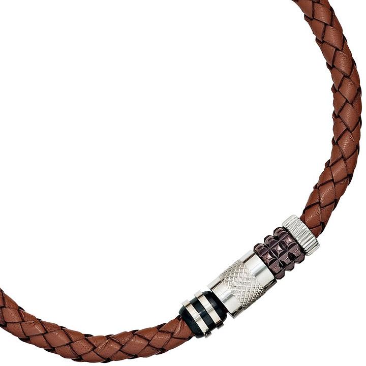 Collier Halskette Leder braun mit Edelstahl teilplattiert 45 cm Kette Lederkette