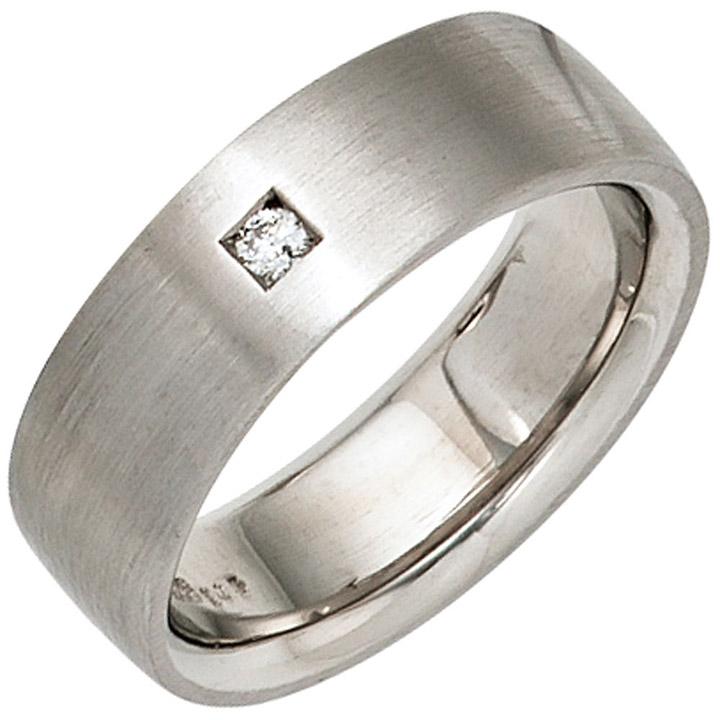 Damen Ring 925 Sterling Silber rhodiniert mattiert 1 Diamant Brillant Silberring