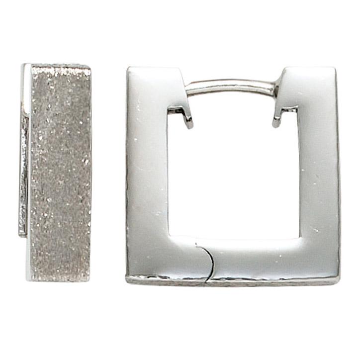 Creolen quadratisch eckig 925 Sterling Silber rhodiniert eismatt Ohrringe