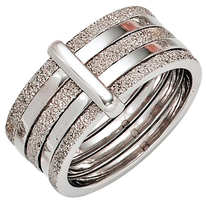Damen Ring breit 925 Sterling Silber rhodiniert Silberring