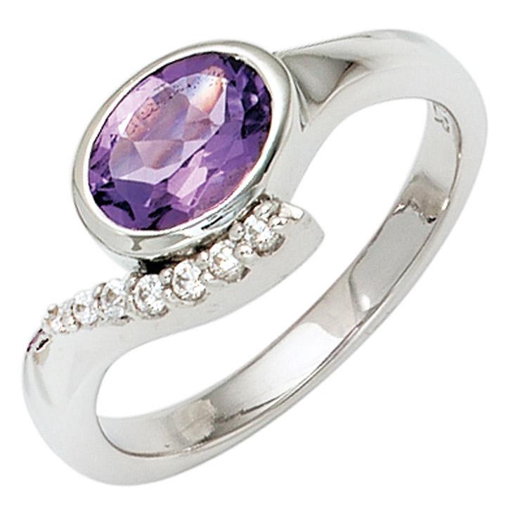 Damen Ring 925 Sterling Silber rhodiniert mit Zirkonia lila violett Silberring