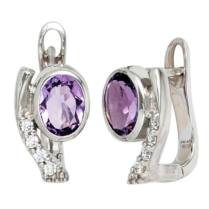 Creolen 925 Sterling Silber mit Zirkonia lila violett Ohrringe Silberohrringe