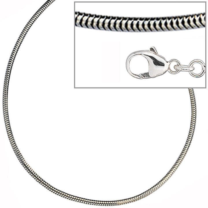 Schlangenkette 925 Silber 1,9 mm 70 cm Halskette Kette Silberkette Karabiner