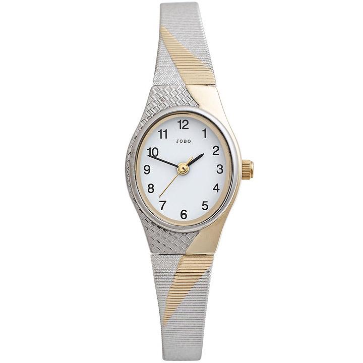 Damen Armbanduhr Quarz Analog Edelstahl bicolor vergoldet Damenuhr oval