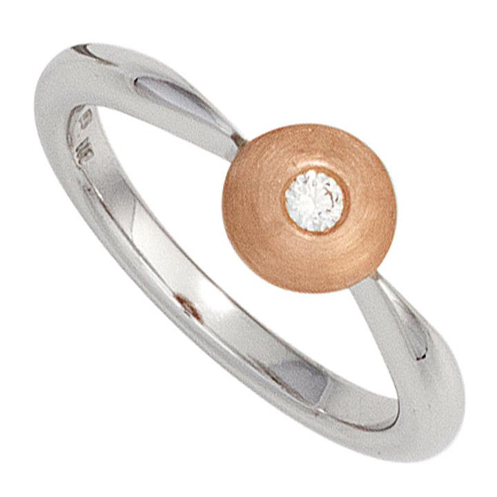 Damen Ring 585 Gold Weißgold Rotgold bicolor matt 1 Diamant Brillant Diamantring