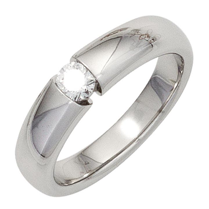 Damen Ring 585 Gold Weißgold 1 Diamant Brillant 0,20ct. Diamantring Weißgoldring