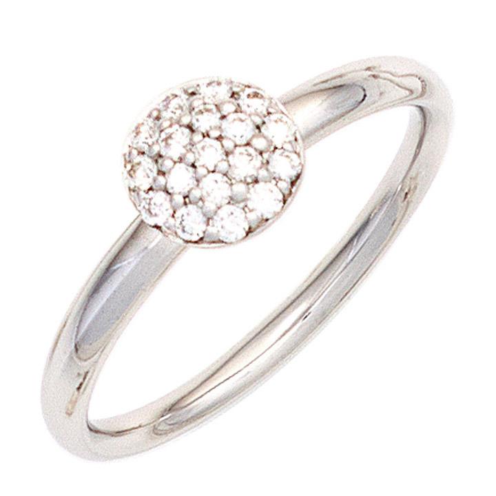 Damen Ring 585 Gold Weißgold 18 Diamanten Brillanten 0,20ct. Weißgoldring