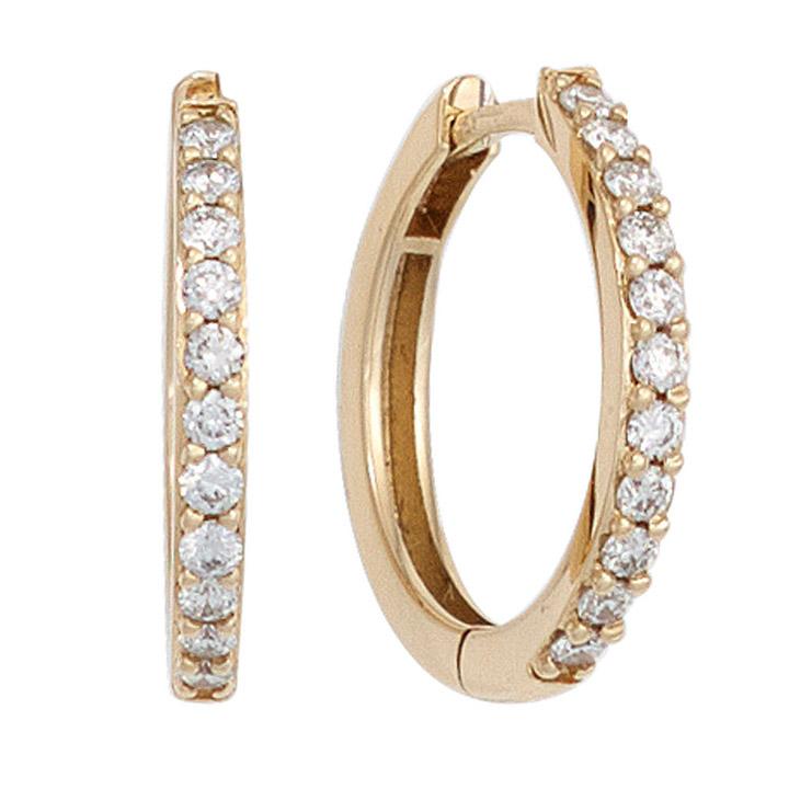 Creolen 585 Gold Gelbgold 22 Diamanten Brillanten Ohrringe Diamantcreolen