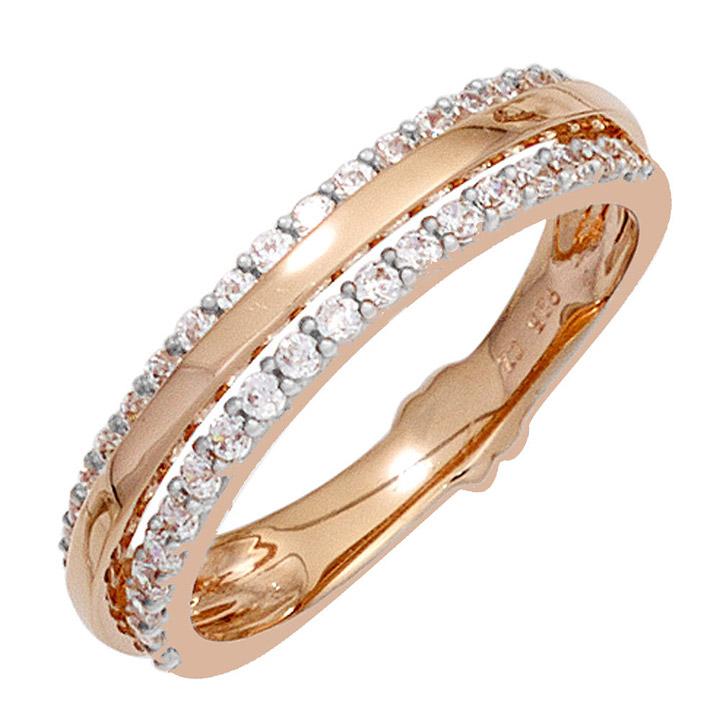 Damen Ring 585 Gold Rotgold 38 Diamanten Brillanten Rotgoldring