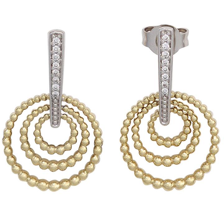 Ohrhänger 585 Gold Gelbgold Weißgold bicolor 16 Diamanten Ohrringe Ohrstecker