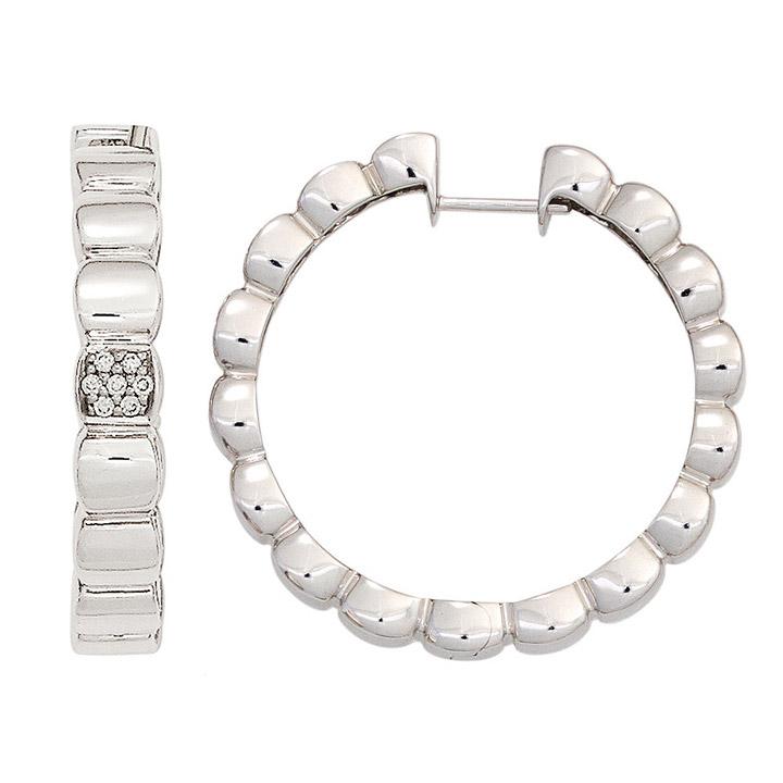 Creolen 585 Gold Weißgold 14 Diamanten Brillanten Ohrringe Goldcreolen