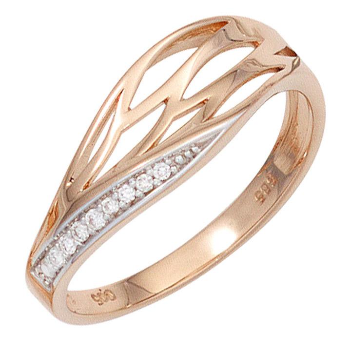 Damen Ring 585 Gold Rotgold 8 Diamanten Brillanten Rotgoldring Diamantring