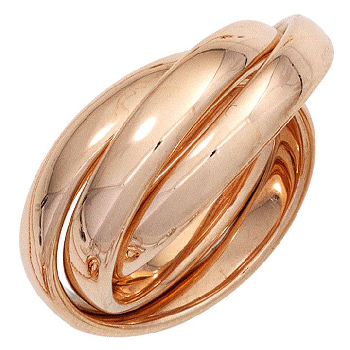 Damen Ring 3-reihig verschlungen 585 Gold Rotgold Rotgoldring