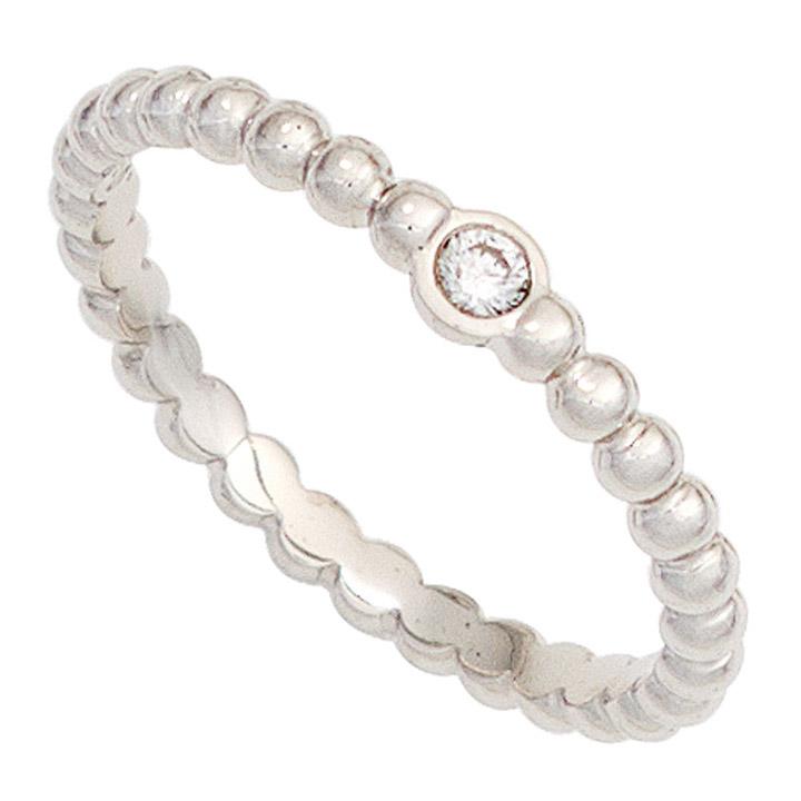 Damen Ring Kugel 950 Platin 1 Diamant Brillant 0,05ct. Kugelring Platinring