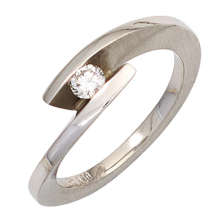 Damen Ring 950 Platin matt 1 Diamant Brillant 0,15ct. Platinring