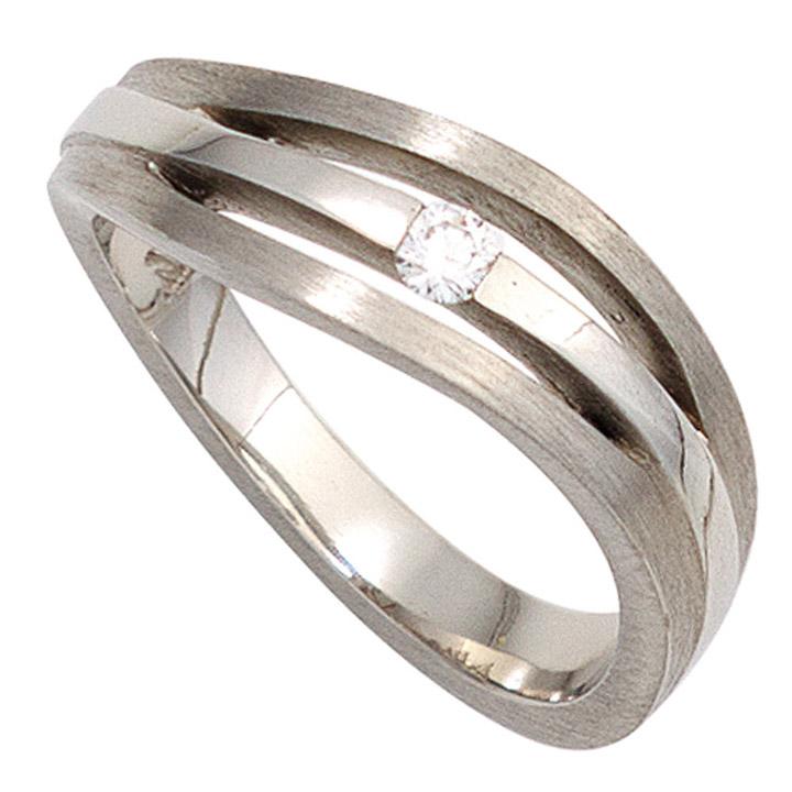 Damen Ring 950 Platin matt 1 Diamant Brillant 0,07ct. Platinring