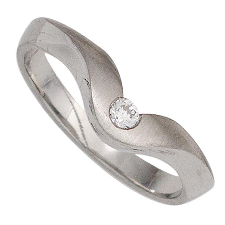 Damen Ring 950 Platin matt 1 Diamant Brillant 0,08ct. Platinring