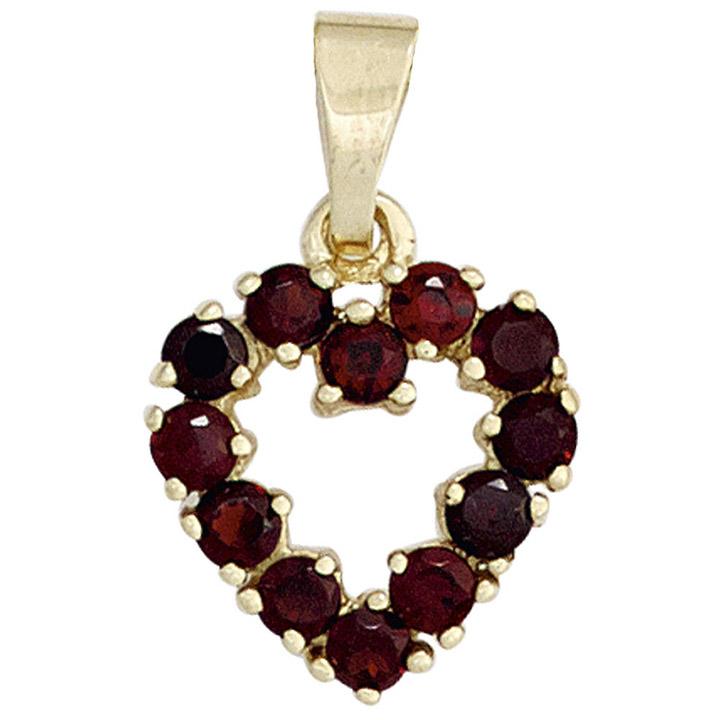 Anhänger Herz 375 Gold Gelbgold 12 Granate rot Herzanhänger
