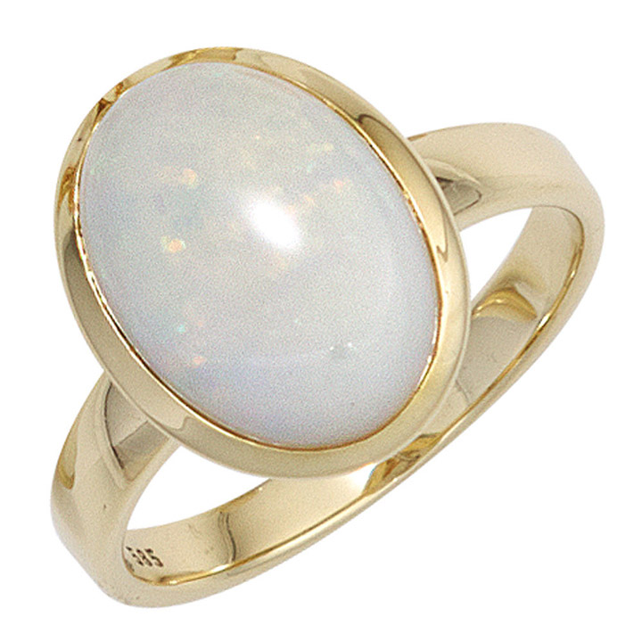 Damen Ring 585 Gold Gelbgold 1 Opal Goldring
