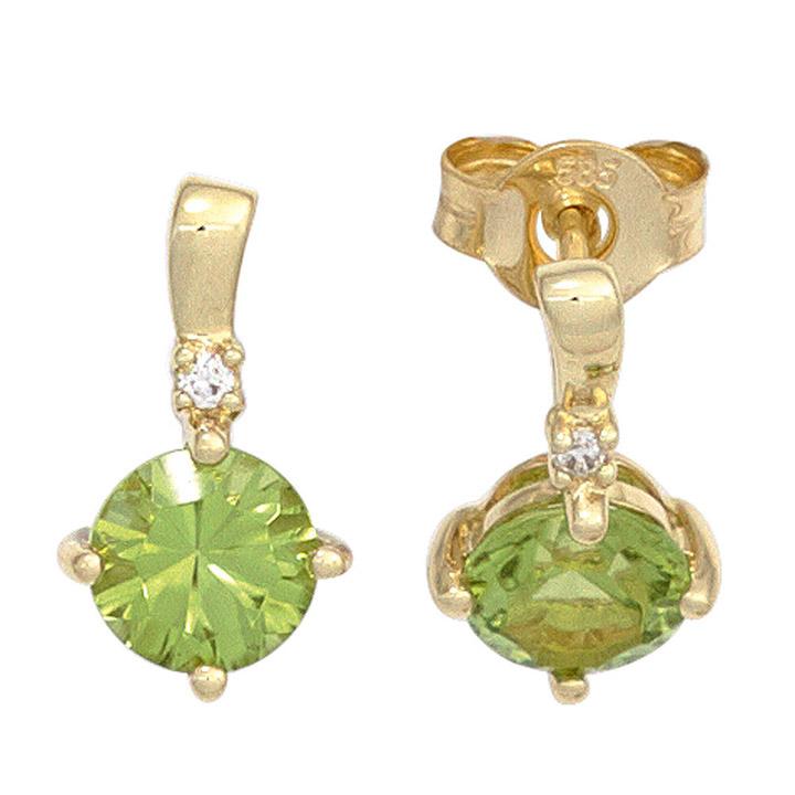 Ohrstecker 585 Gold Gelbgold 2 Peridote grün 2 Diamanten Brillanten Ohrringe