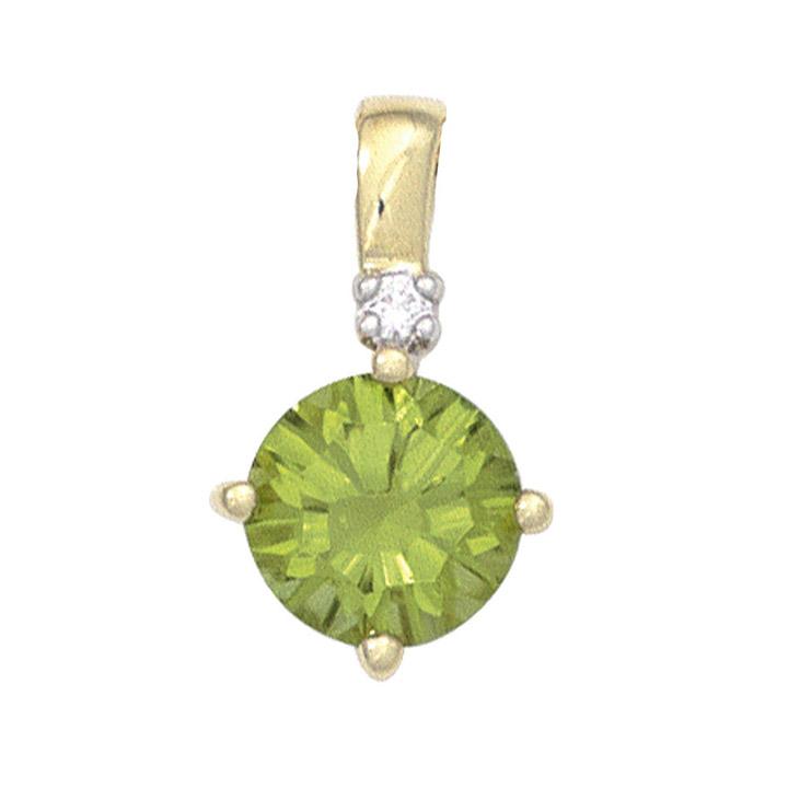 Anhänger rund 585 Gold Gelbgold 1 Peridot grün 1 Diamant Brillant Goldanhänger
