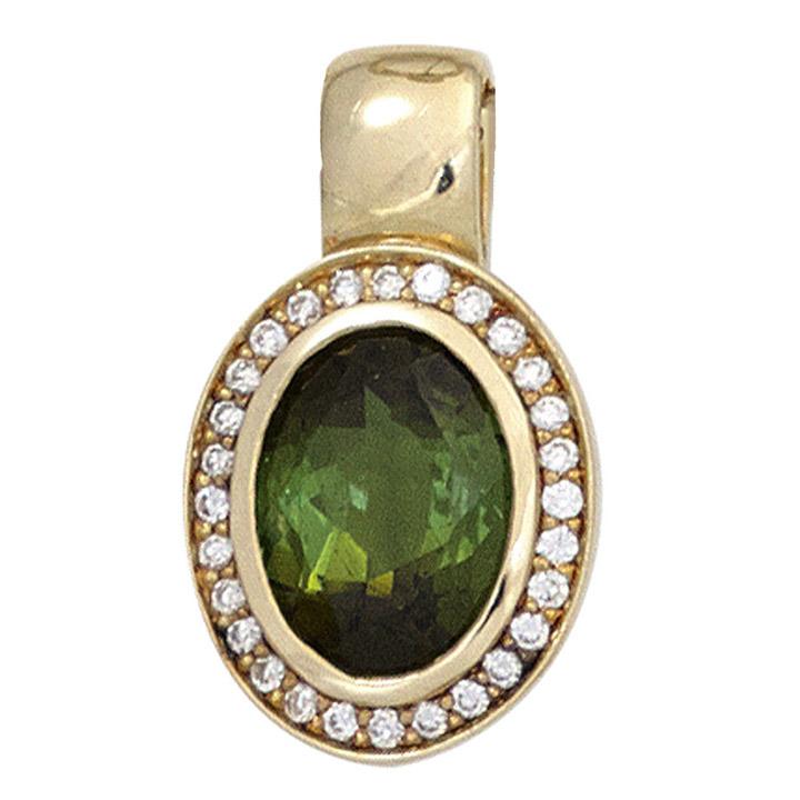 Anhänger oval 585 Gold Gelbgold 1 Turmalin grün 28 Diamanten Brillanten 0,11ct.