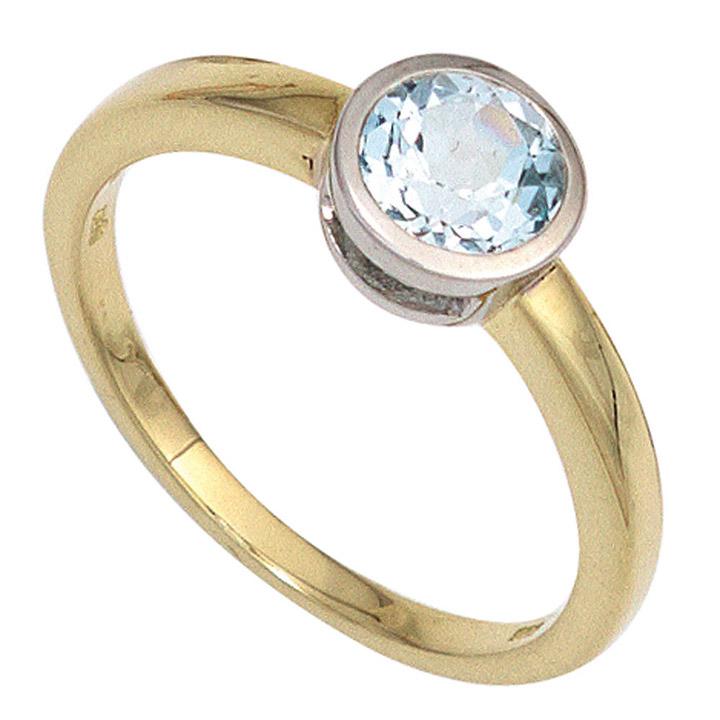 Damen Ring 585 Gold Gelbgold bicolor 1 Blautopas hellblau blau Goldring
