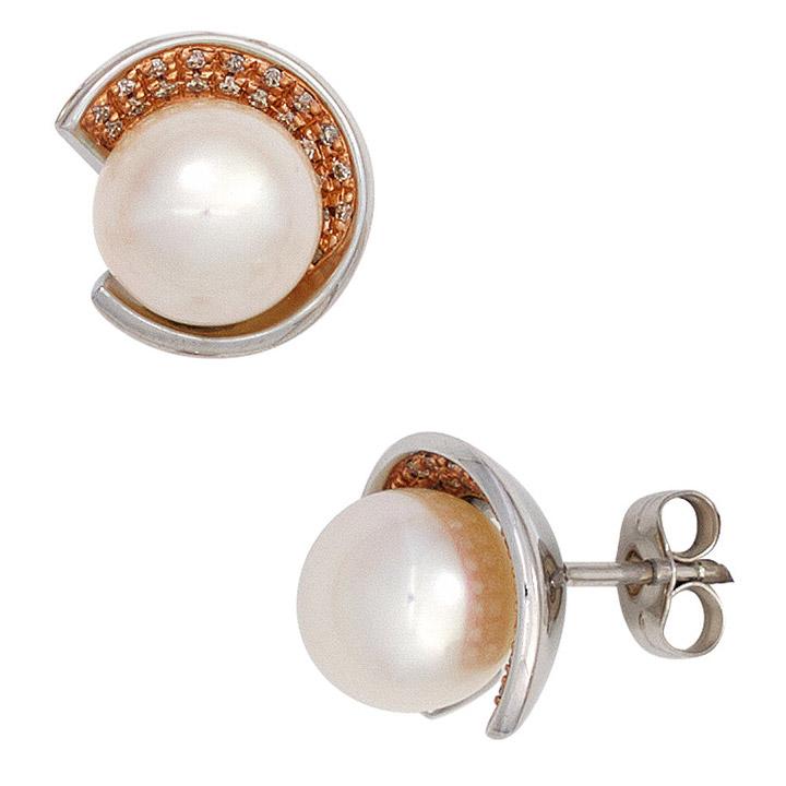 Ohrstecker 585 Weißgold 2 Süßwasser Perlen 42 Diamanten Brillanten Ohrringe