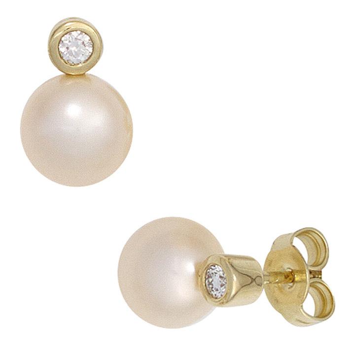 Ohrstecker 585 Gelbgold 2 Süßwasser Perlen 2 Diamanten Brillanten Ohrringe
